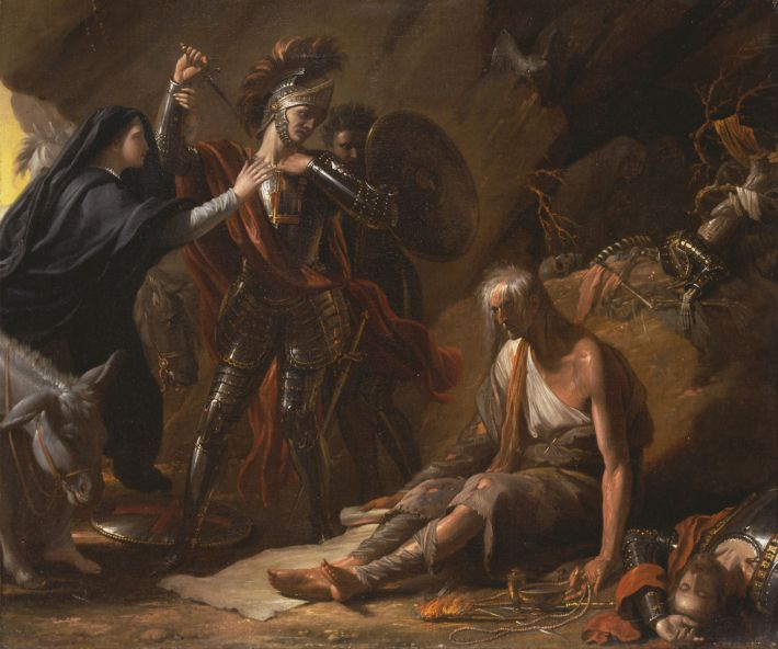 Benjamin West, The Cave of Despair, 1776, olieverf op doek, 61 x 76 cm, Art Complex Museum, Duxbury, Massachusetts, USA