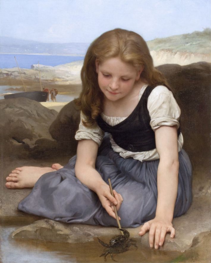 William-Adolphe Bouguereau, De krab (Frans: Le crabe), 1896, olieverf op doek, 121 × 160.5 cm, privécollectie