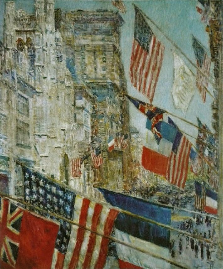 Childe Hassam (1859-1935), Allies Day, 1917, olieverf op doek, 75.1 x 62.5 cm, National Gallery of Art, Washington