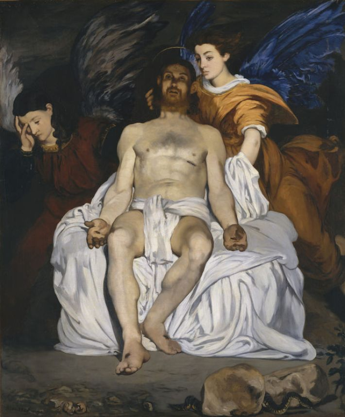 Édouard Manet (1832-1883), Christus tussen de Engelen [Franse titel: 'Le Christ mort et les anges' of: 'Le Christ aux anges'], 1864, olieverf op doekd, 179 x 150 cm, Metropolitan Museum of Art, New York