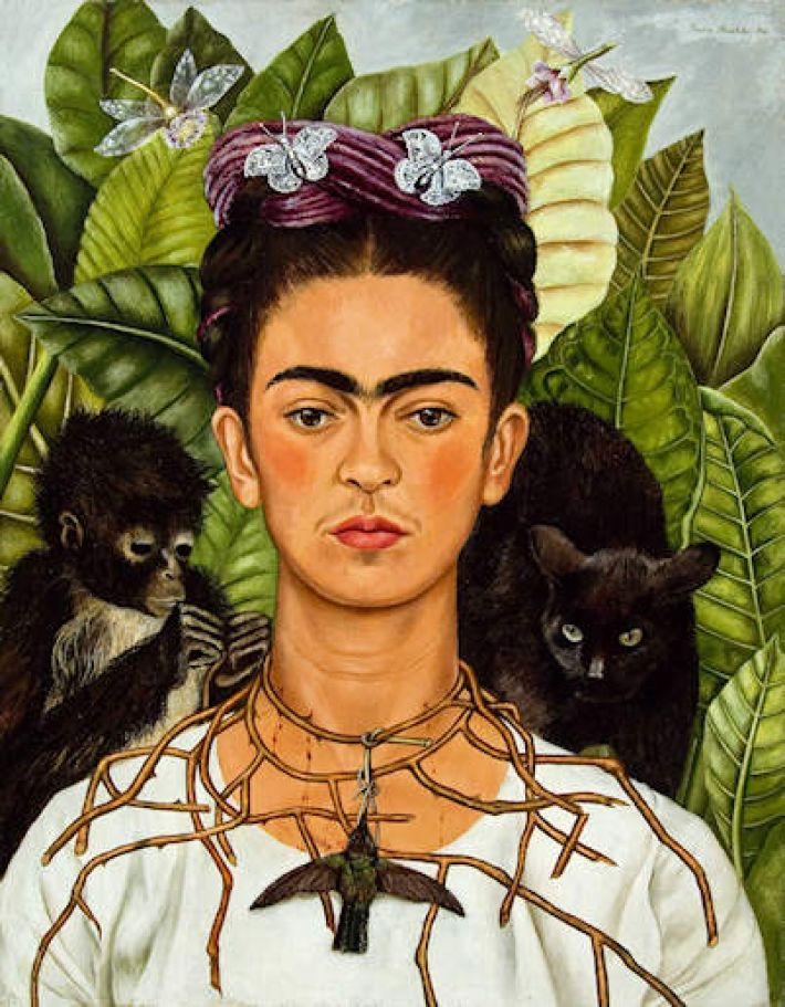 Frida Kahlo, Zelfportret met doornenhalsband, 1940, 63.5 x 49.5 cm, Harry Ransom Humanities Research Center Art Collection, Austin, The University of Texas