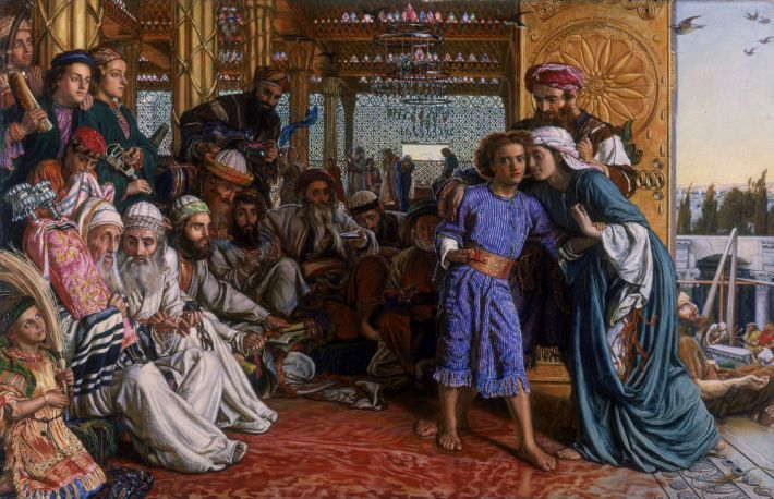 William Holman Hunt (1827-1910) , The Finding of the Saviour in the Temple, 1860, olieverf op doek, 141 x 85.7 cm, Birmingham Museum and Art Gallery