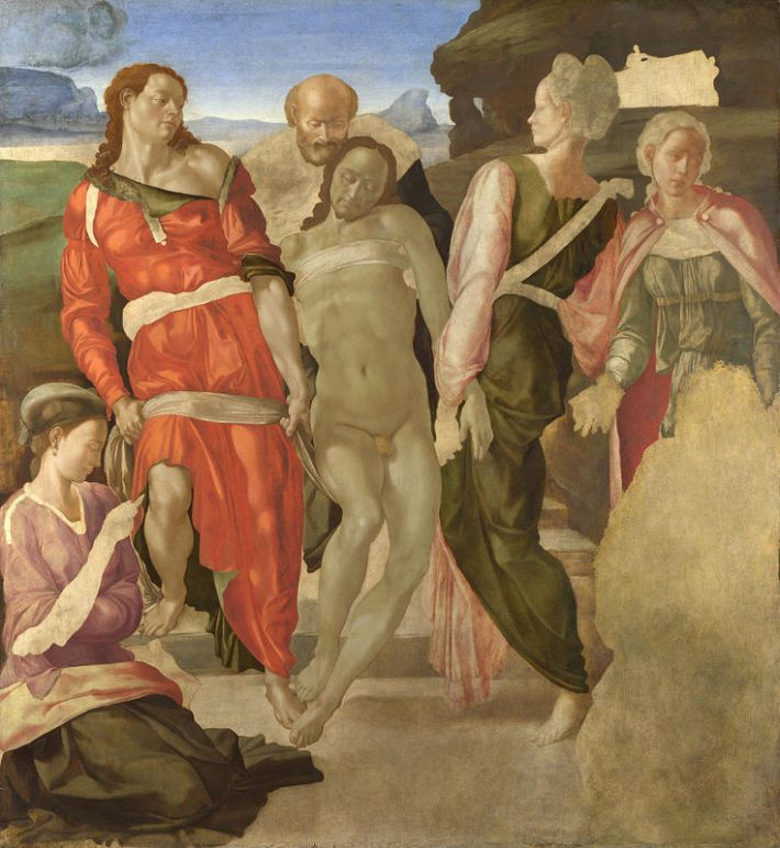 Michelangelo (1475-1564), de graflegging, ca. 1500-01, tempera op paneel, 161.7 cm x 149.9 cm, National Gallery, Londen