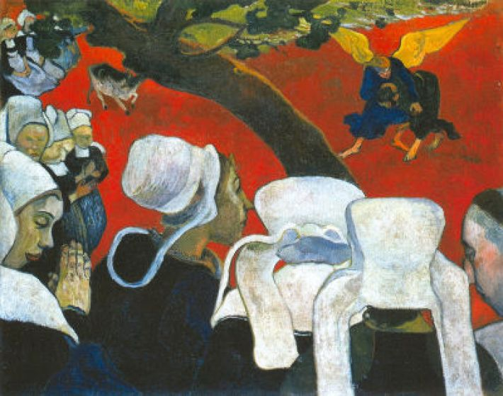 Paul Gauguin, Visioen na de preek, Jacobs gevecht met de Engel (Franse titel: La Vision après le Sermon), 1988, olieverf op doek, 73 x 92 cm, National Galleries of Scotland, Edinburgh