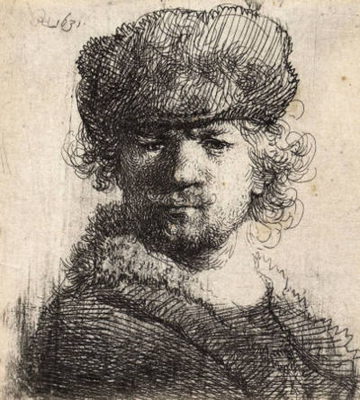 Rembrandt, self portrait etching