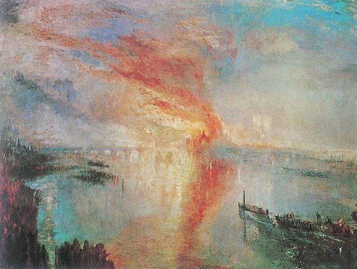 William Turner, The Burning of the Houses of Parliament, 1834-35, olieverf op doek, 93 x 123 cm, The Cleveland Museum of Art, USA