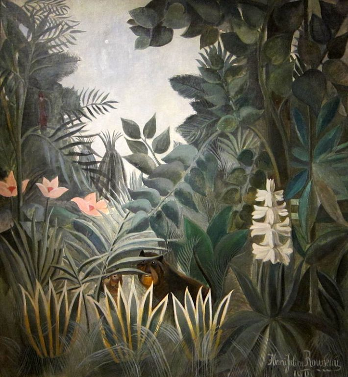 Henri Rousseau (1844-1910), De equatoriaal  jungle, 1909, olieverf op doek, 140.6 x 129.5 cm, National Gallery of Art, Washington