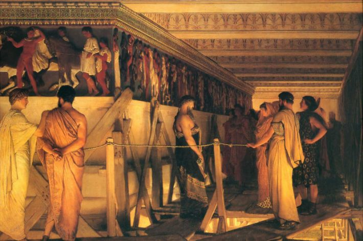 Lawrence Alma Tadema, Phidias Showing the Frieze of the Parthenon to his Friends, 1868, olieverf op doek, 72 x 110.5 cm, Birmingham Museum and Art Gallery