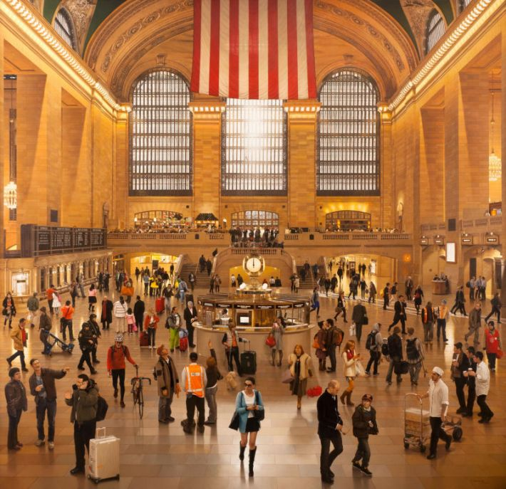 Stone Roberts, Grand Central Terminal. An Early December Noon in the Main Concourse, 2009-12, olieverf op doek, 188 x 193 cm, William Louis-Dreyfus Foundation (Deze afbeelding is ter beschikking gesteld voor de pers door het Drents Museum)