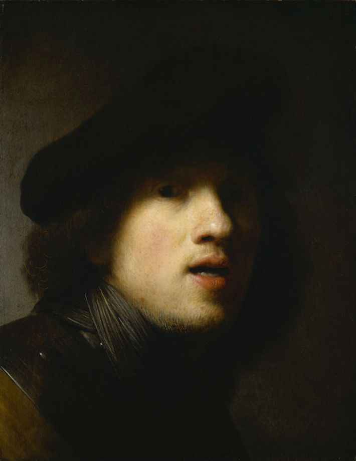 Rembrandt (1606-1669), Zelfportret, ca. 1629, olieverf op paneel, 44.4 x 34.2 cm, Indianapolis Museum of Art, Indianapolis