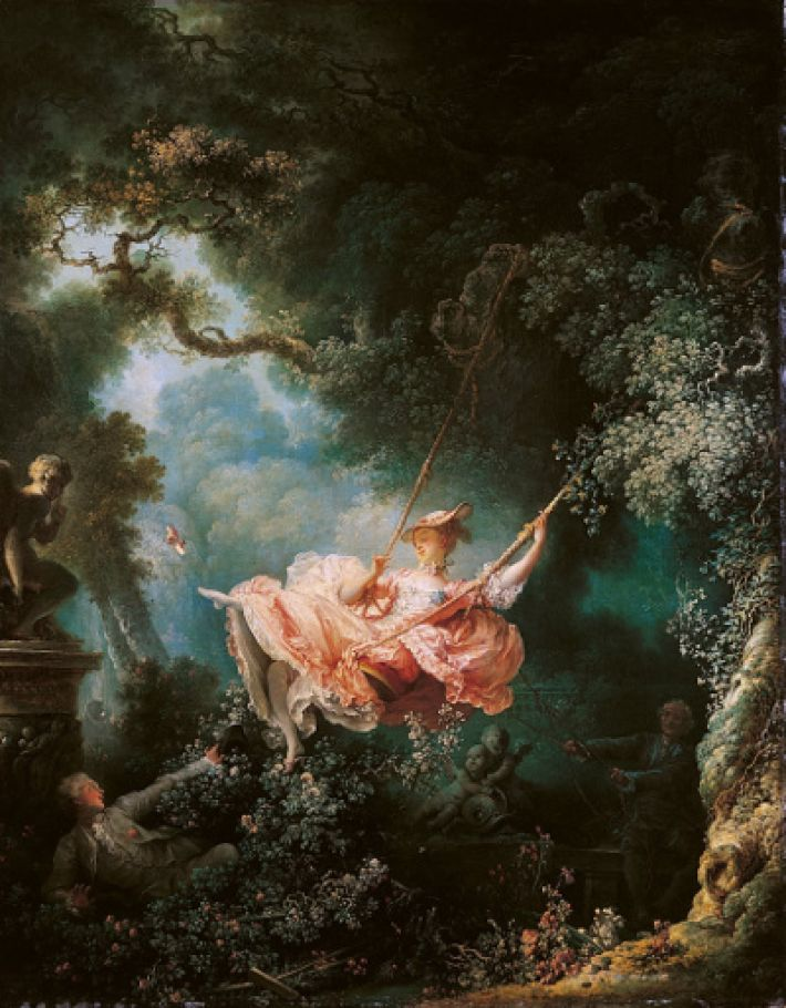Jean-Honoré Fragonard, De schommel, 1767. Olieverf op linnen, 81 x 65 cm. Wallace Collection, Londen