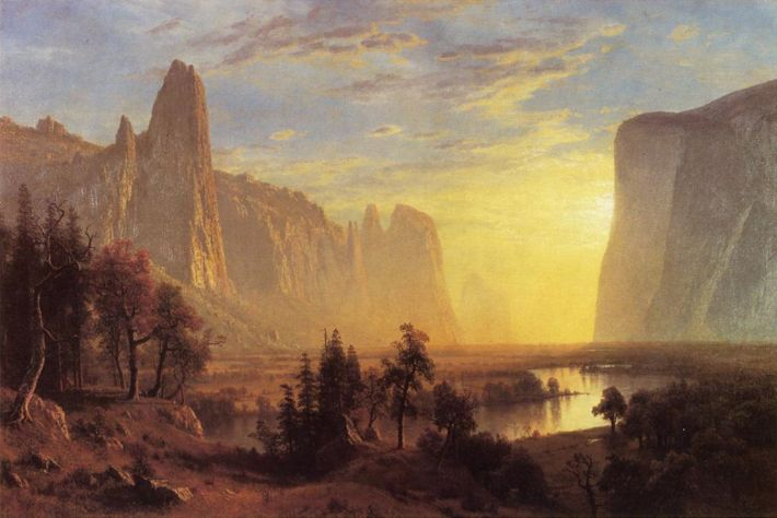 Albert Bierstadt, Yosemite Valley Yellowstone Park, 1868, olieverf op  doek, 91.4 x 137.2 cm, Oakland Museum of California