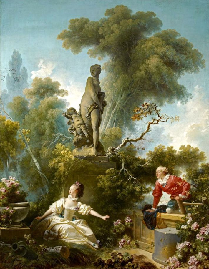 Jean-Honoré Fragonard, De geheime ontmoeting, 1771-73, olieverf op doek, 317.5 x 243.8 cm, Frick Collection, New York