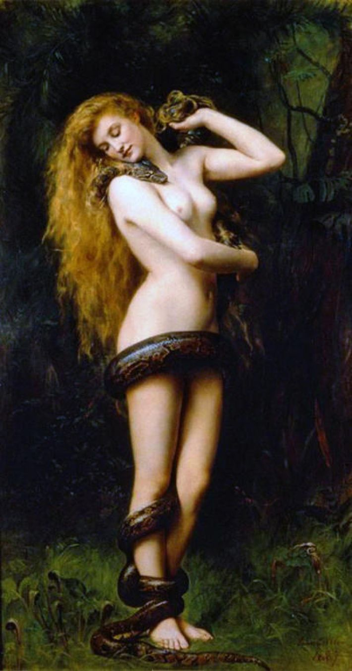 John Collier, Lilith, 1892, olieverf op doek, 194 x 104 cm, The Atkinson Art Gallery, Southport, England