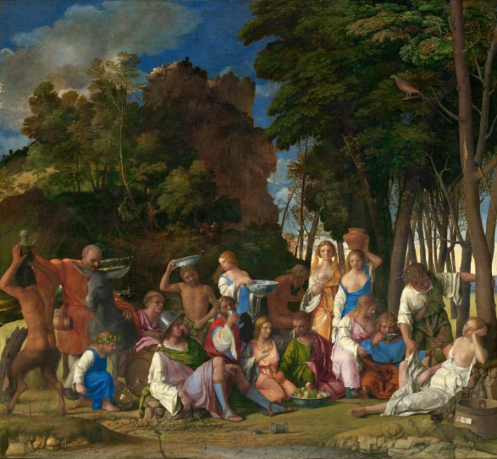 Giovanni Bellini (1430-1516) en Titiaan, Feest van de goden, 1514-29, olieverf op doek, 170.2 x 188 cm, National Gallery of Art, Washington
