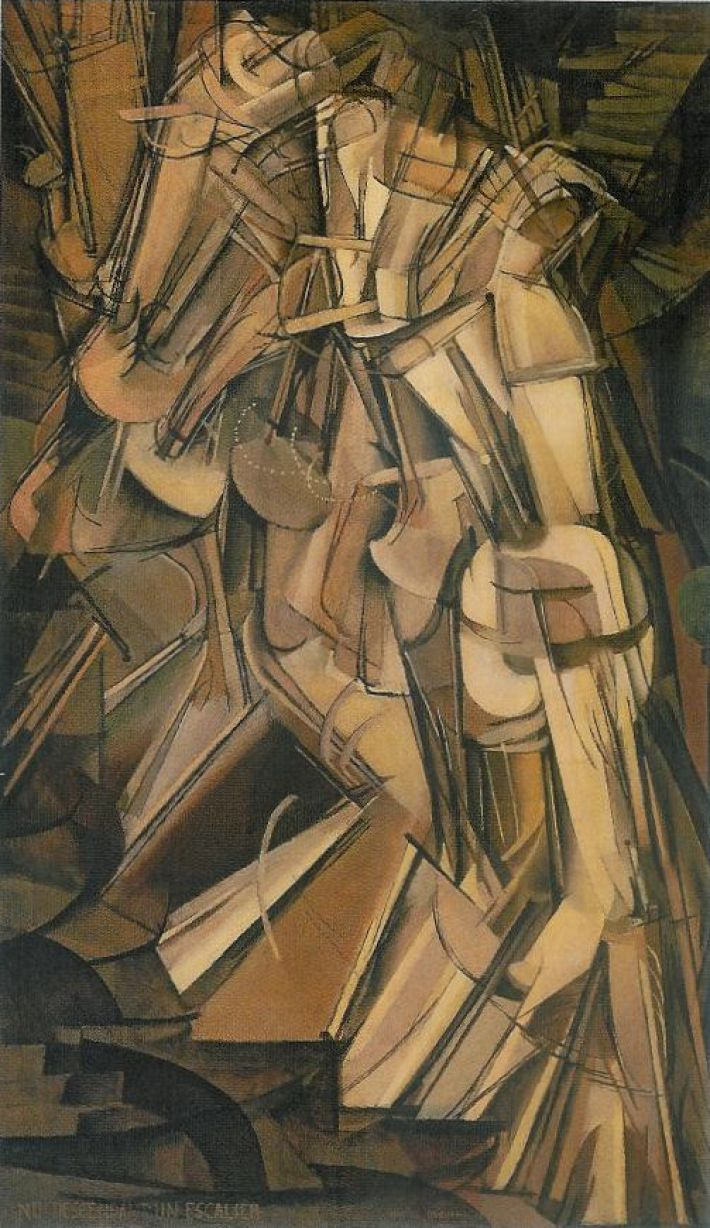 Marcel Duchamp, Nude Descending a Staircase, No. 2, 1912. Olieverf op doek, 147 x 89 cm. Philadelphia Museum of Art, Pennsylvania, USA