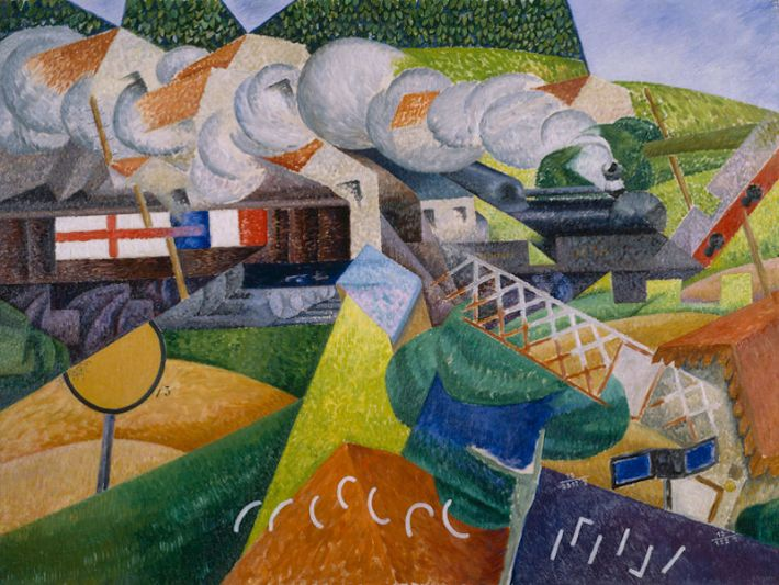 Gino Severini (1883-1966), Red Cross Train Passing a Village, 1915, olieverf op doek, 89,5 x 116,2 cm, Solomon R. Guggenheim Museum, New York