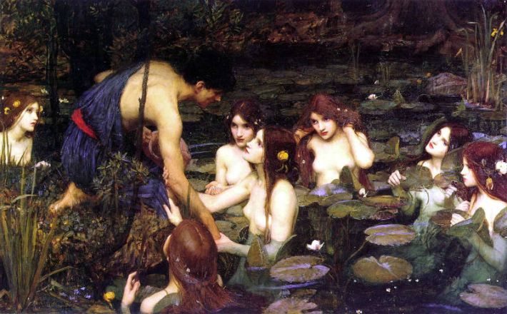 John William Waterhouse (1847-1917), Hylas en de nimfen (Engels: 'Hylas and the Nymphs'), 1896, olieverf op doek, 132.1 x 197.5 cm, Manchester Art Gallery