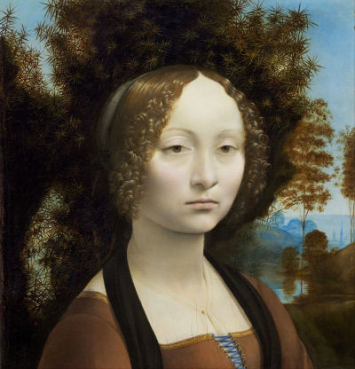 Leonardo da Vinci, Ginevra de' Benci, ca. 1474-78, olieverf op paneel, 42.7 x 37 cm, National Gallery of Art, washington