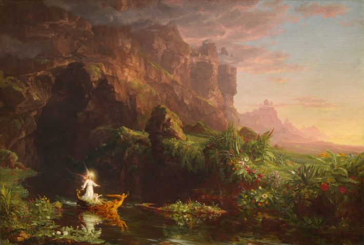 Thomas Cole (1801-1848), De levensreis. De jeugd, 1842, olieverf op doek, 134.3 x 195.3 cm, National Gallery of Art, Washington