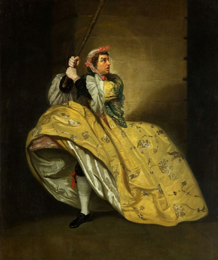 Johann Zoffany (1733-1810), David Garrick als John Brute in 'The Provok'd Wife' door Vanbrugh, Drury Lane, 1763, olieverf op doek, 75 x 62 cm, Holburne Museum, Bath