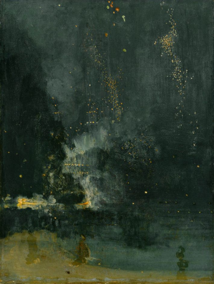 James Abbott McNeill Whistler,Nocturne in Black and Gold, The Falling Rocket, ca. 1875, olieverf op paneel, 60.2 x 46.7 cm, Detroit Institute of Arts, USA