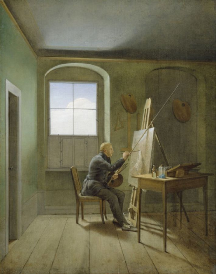 Georg Friedrich Kersting (1785-1847), Caspar David Friedrich in zijn atelier, 1811, olieverf op doek, 54 x 42 cm, Hamburger Kunsthalle, Hamburg