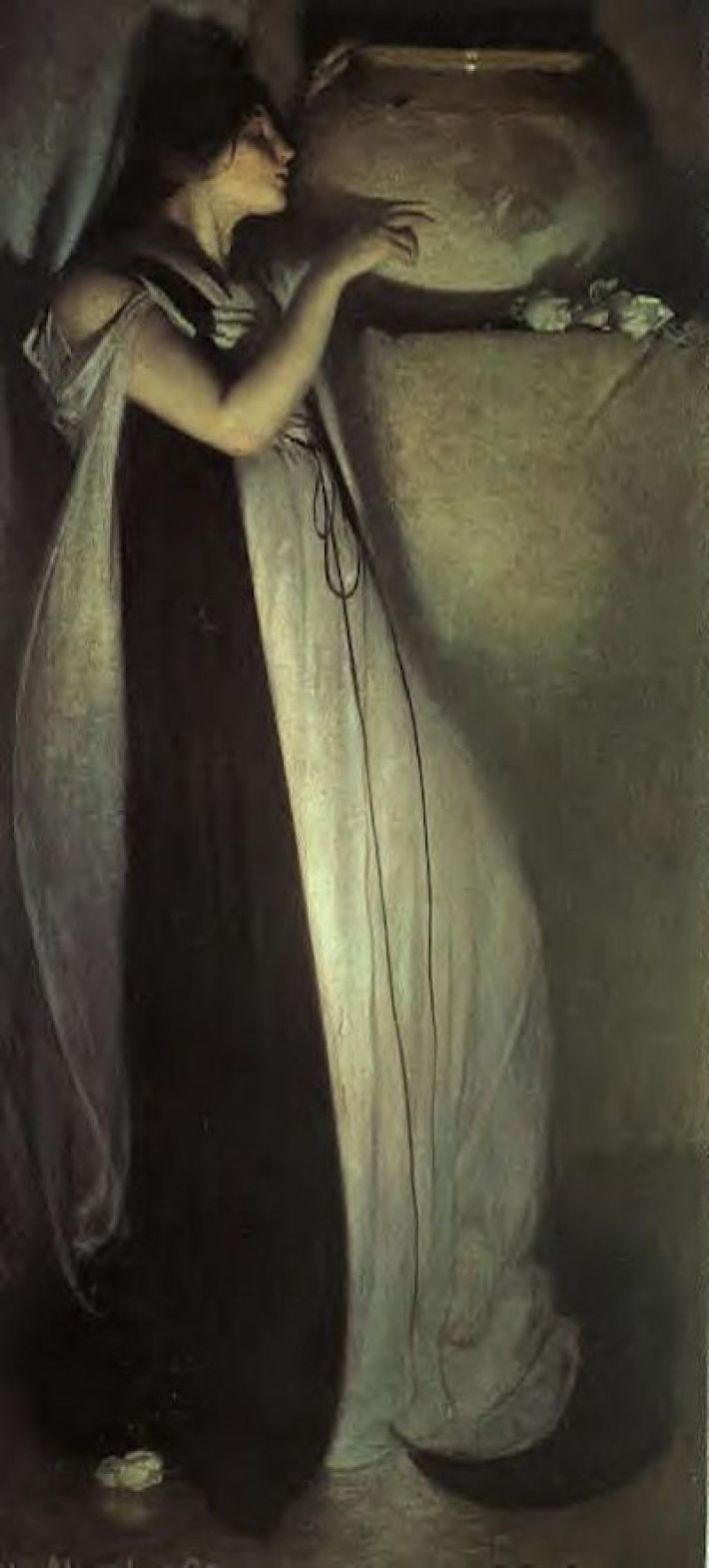 John White Alexander, Isabella and the Pot of Basil, 1897, olieverf op doek, 192.1 x 91.8 cm, Museum of Fine Arts, Boston