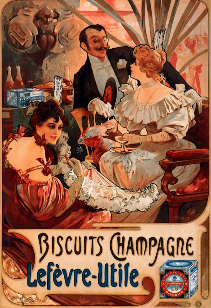 Alfons Mucha (1860-1939), Biscuits Champagne Lefèvre Utile, 1896, poster op basis van lithografie, 52 x 35.5 cm, privécollectie