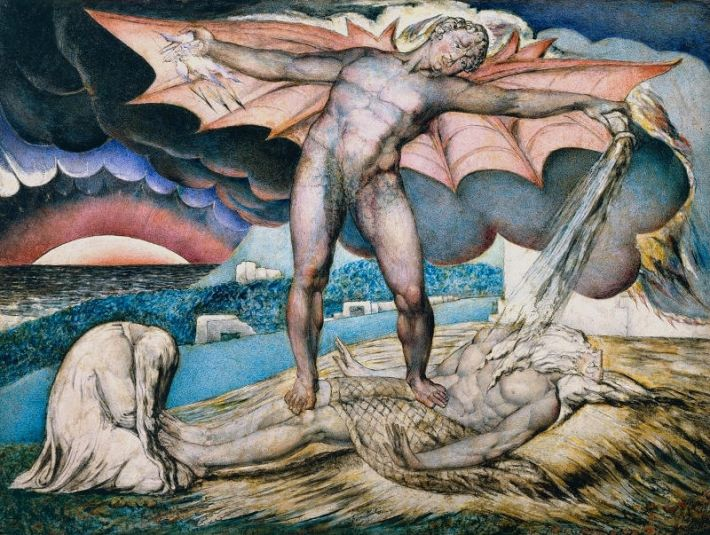 William Blake (1757–1827), Satan Smiting Job with Sore Boils, ca. 1826, pen en inkt en tempera op mahoniehout, 32.6 x 43.2 cm, Tate Britain