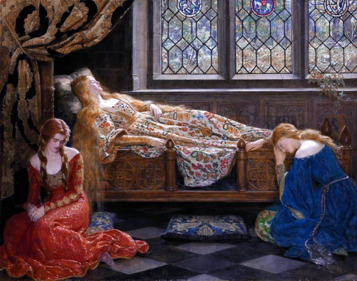John Collier, Doornroosje [Engelse titel: 'The Sleeping Beauty'], 1921, olieverf op doek, 111.8 x 142.2 cm, privécollectie