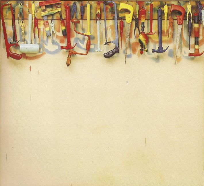 Jim Dine, Five Feet of Colorful Tools, 1962, olieverf op doek met objecten; hout, gereedschap en haken, 141 x 152 x 12 cm, Museum of Modern Art, New York, Collectie Sidney and Harriet Janis