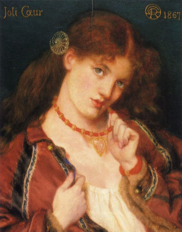 Dante Gabriëll Rossetti, Joli Coeur, 1867, olieverf op doek, 38.1 x 30.2 cm, City of Manchester Art Galleries, Manchester, UK