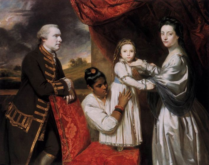 Sir Joshua Reynolds, George Clive and his Family with an Indian Maid, 1765, olieverf op doek, 140 x 171 cm, Staatliche Museen zu Berlin, Gemäldegalerie, Berlijn