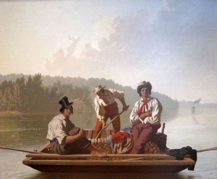 George Caleb Bingham (1811-1879), Binnenschippers op de Missouri [Engelse titel: 'Boatmen on the Missouri'], 1846, olieverf op doek, 63.5 x 76.2 cm, Fine Arts Museums of San Francisco