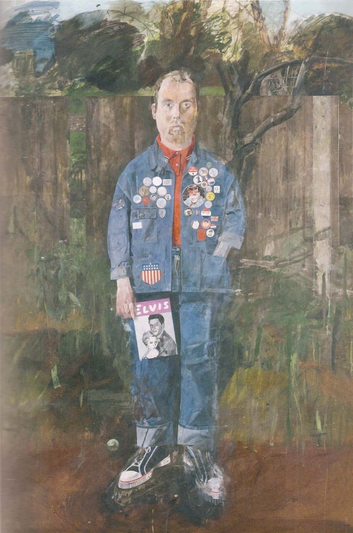 Peter Blake, Self-Portrait with Badges, 1961, olieverf op hardboard, 174 x 122 cm, Tate Gallery, Londen