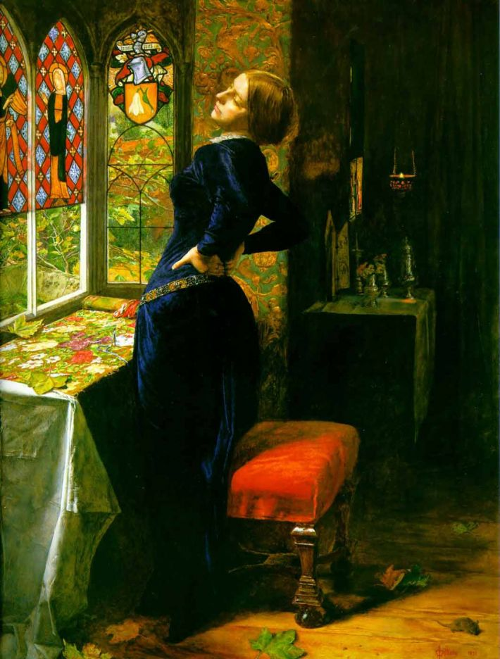 John Everett Millais, Mariana in the Moated Grange [Of: 'Mariana'], 1851, olieverf op paneel, 59.7 x 49.5 cm, Tate Britain, Londen