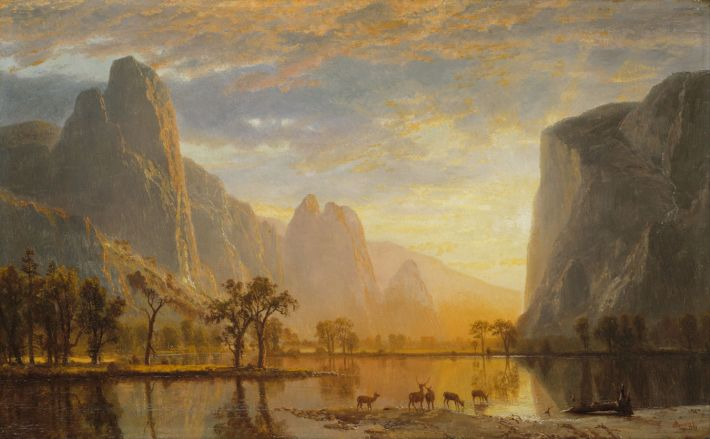 Albert Bierstadt, De vallei van de Yosemite (Engelse titel: Valley of the Yosemite), 1864, olieverf op karton, 30.2 x 48.9 cm, Museum of Fine Arts, Boston