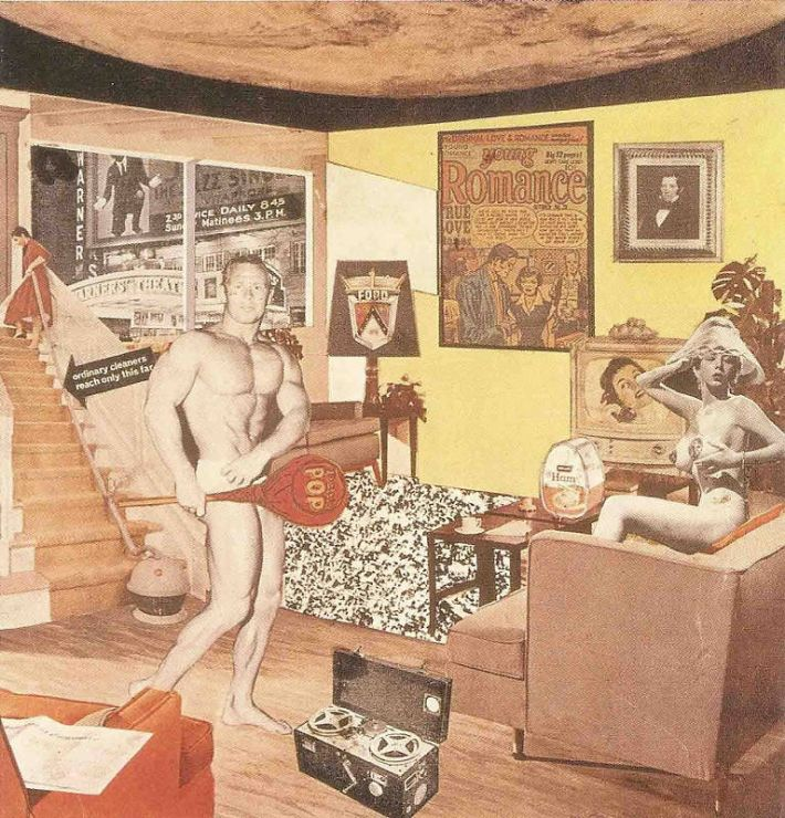 Richard Hamilton, Just what is it that makes today's homes so different, so appealing?, 1956, collage op papier, 26 x 25 cm, Tübingen, Kunsthalle Tübingen, verzameling prof. Dr. Georg Zundel