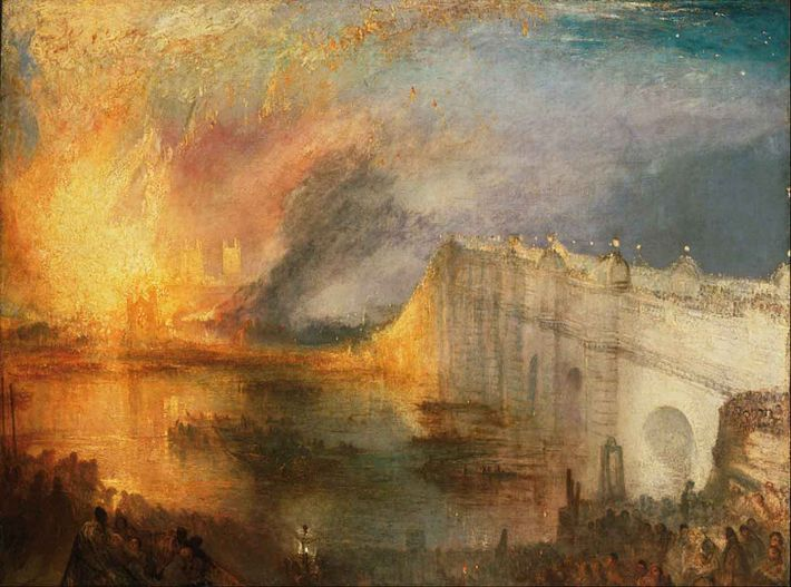 William Turner, The Burning of the Houses of Lords and Commons, October 16, 1834, 1834/ 1835, olieverf op doek, 92.1 x 123.2 cm, Philadelphia Museum of Art, Philadelphia