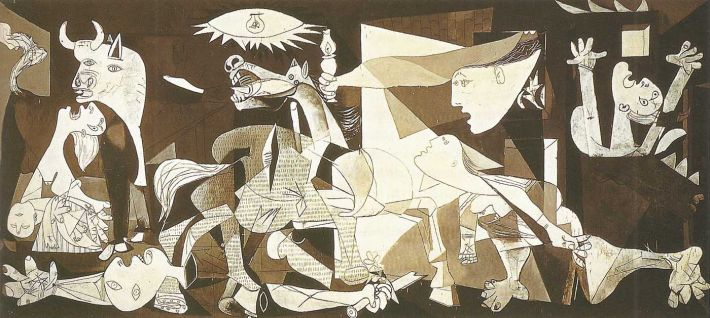 Pablo Picasso, Guernica, 1937, olieverf op doek, 349 x 776 cm, Museo Reina Sofia, Madrid, Spanje
