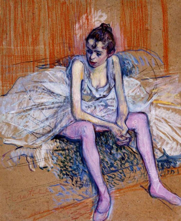 Henri de Toulouse-Lautrec, Seated Dancer in Pink Tights, 1890, olieverf en inkt op karton, 52 x 47, privécollectie