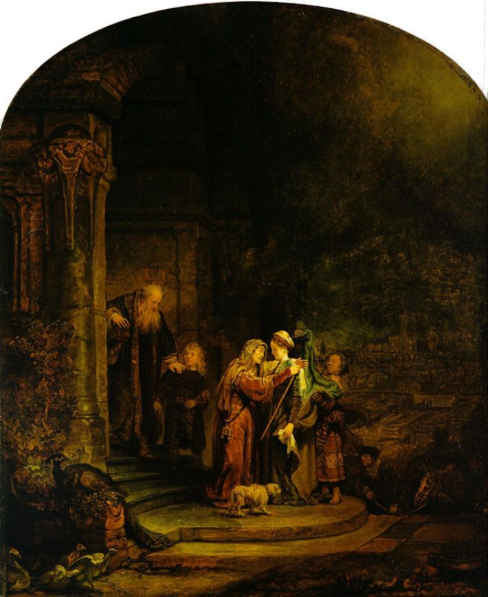 Rembrandt (1606-1669), De visitatie, 1640, olieverf op paneel, 56.5 x 47.9 cm, Detroit Institute of Arts, Detroit, Michigan