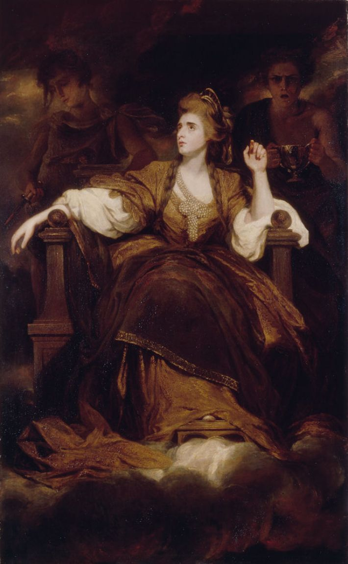 Joshua Reynolds, Mrs Siddons as the Tragic Muse, ca. 1784, olieverf op doek, 239.4 x 147.6 cm, Dulwich Picture Gallery, South London