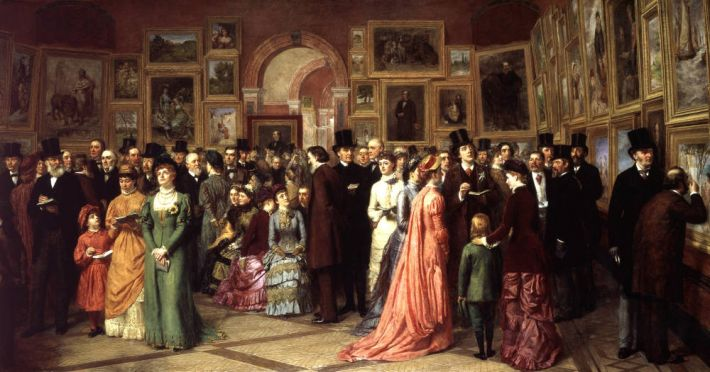 William Powell Frith (1819-1909), A Private View at the Royal Academy, 1883, olieverf op doek, 60 x 114 cm, Royal Academy of Arts, Londen