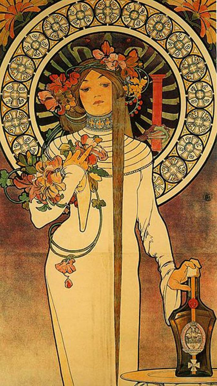 Alfons Mucha, La Trappistine, 1897, litho (reclameposter voor Trappistine liquors), 207 x 66 cm, Suntory Collection, Osaka