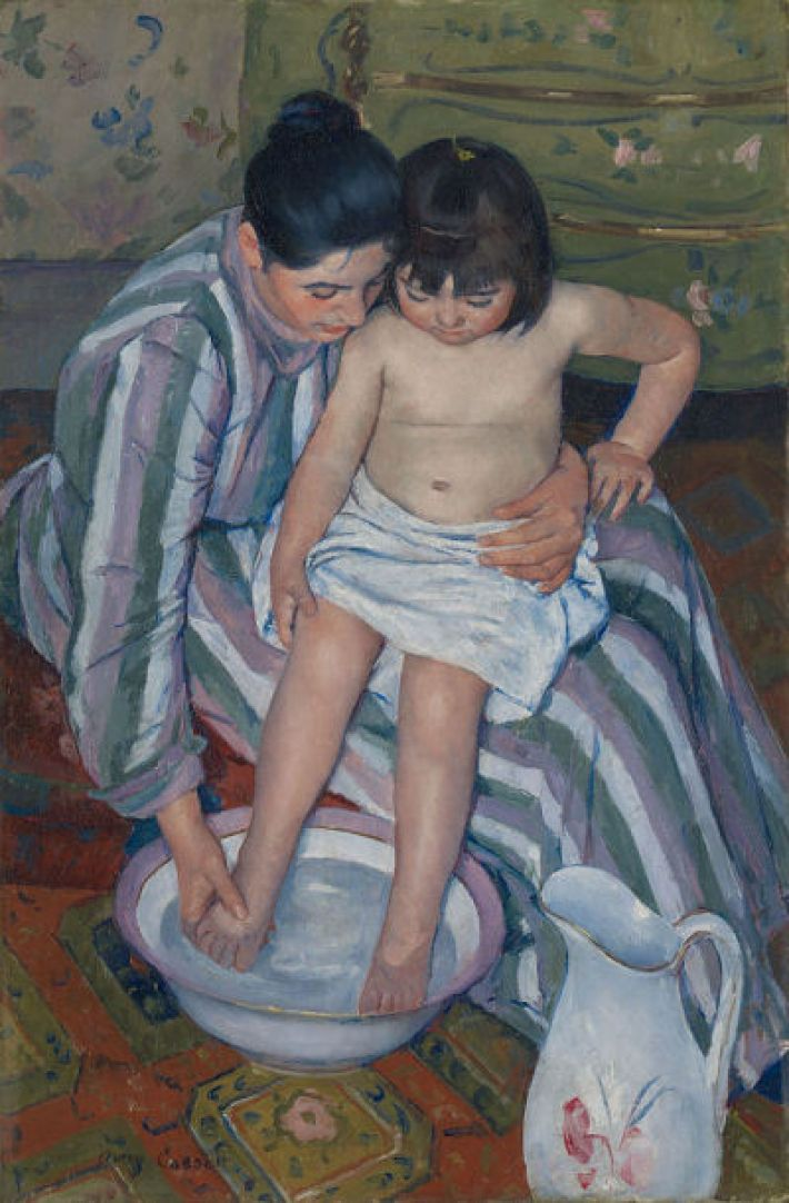 Mary Cassatt, Het kinderbad, 1893, olieverf op doek, 100 x 66 cm, Art Institute of Chicago
