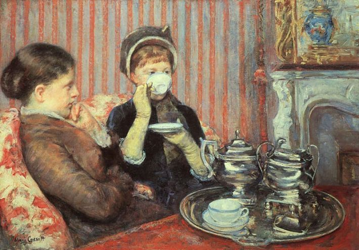 Mary Cassatt (1844-1926), De Thee [Engelse titel: Five O'Clock Tea of: The Tea], 1880, olieverf op doek, 64.8 x 92.1 cm, Museum of Fine Arts, Boston, Massachusetts, USA