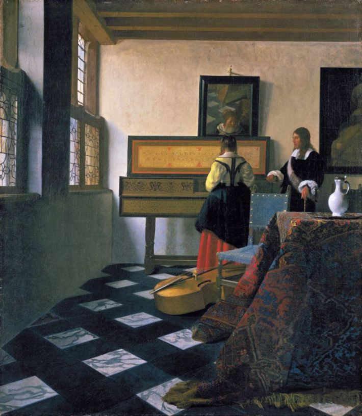 Johannes Vermeer (1632-1675), De muziekles, ca. 1662-65, olieverf op doek, 73.3 x 64.5 cm, Royal Collection UK