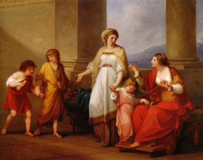 Angelica Kauffmann, Cornelia, Mother of the Gracchi, Pointing to her Children as her Treasures, ca. 1785, olieverf op doek, 101 x 127 cm, Virginia Museum of Fine Arts, USA
